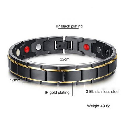 Noroomaket Men Bracelets Fashion Magnetic Titanium Steel Therapy Energy Health Care for Women Bracelet