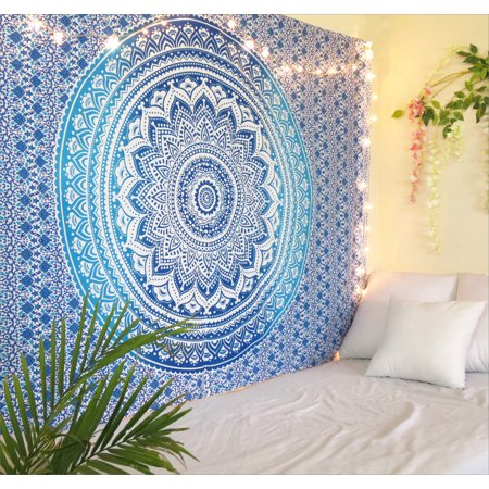 Hoffman Tapestry (Blue Ombre Mandala Tapestry Twin Size Boho Dorm Room Wall Hanging Indian Beach Throw Blanket Outdoor Picnic Yoga Mat by Oussum)