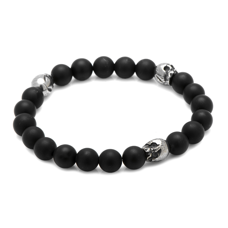 Cufflinks Inc Mens Thomas Onyx Stretch Bracelet In Pewter (Silver) - Jewelry New