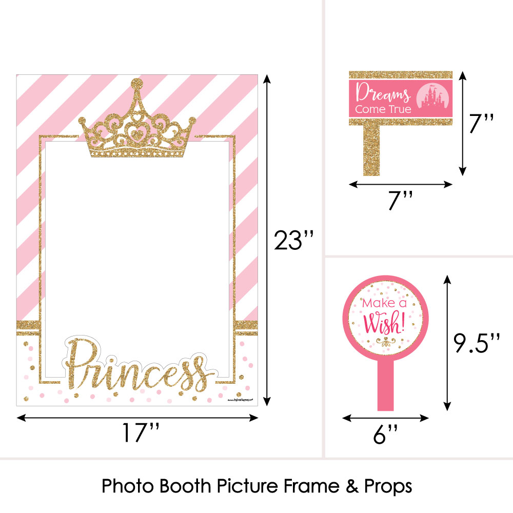Royal Princess Props Little Princess Crown Photo Booth Props Pink and Gold Photo Booth Prop Kit Princess Party Selfie Props 10 pc.