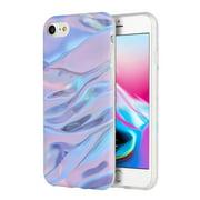 iPhone 8 Case, Premium Marble Design TPU Cover Soft Slim Back Case - Purple/ Pink for iPhone 8 (Anti Scratch, Raised Bezel, Shockabsorption)