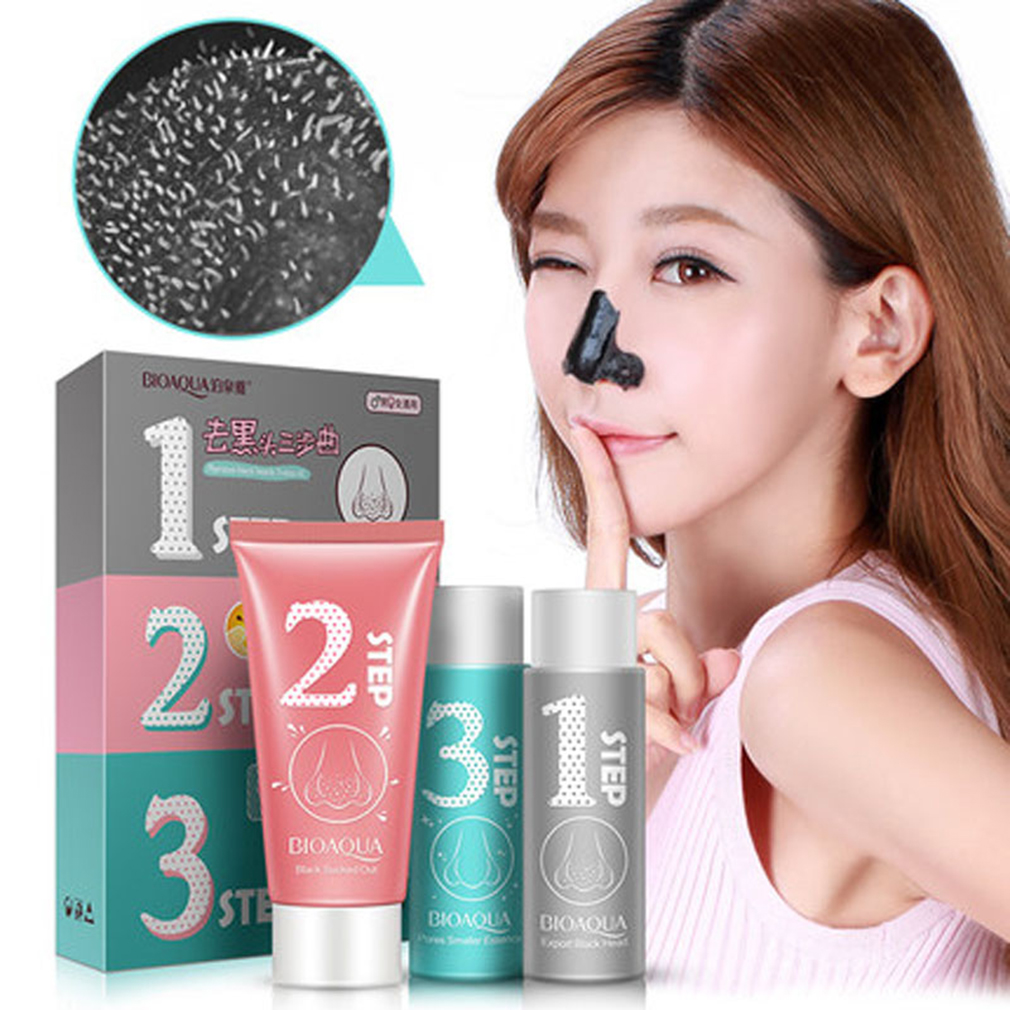 BOQUANYA 3pcs/set Facial Skin Care Set Unisex Facial Blackhead Remover Acne Treatment Shrink Pores Black Head Removal Set