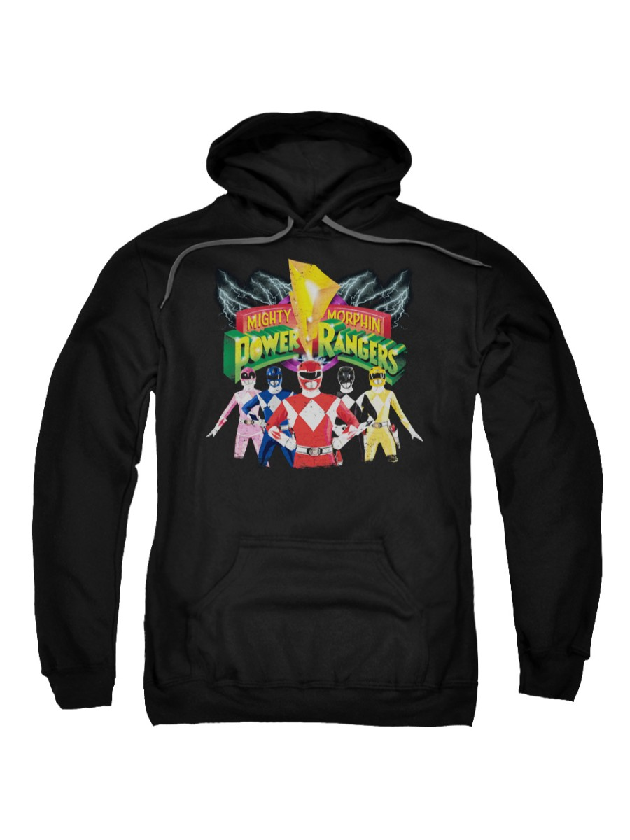 Mighty Morphin Power Rangers TV Series Rangers Unite Logo Adult Pull-Over Hoodie