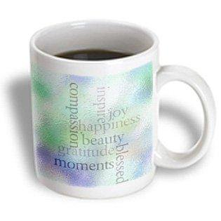 3dRose Inspire Joy and Gratitude Stained Glass- Inspirational- Motivational, Ceramic Mug, 11-ounce