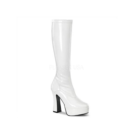 ELE2000Z/W Pleaser Platforms (Exotic Dancing) Knee High Boots WHITE Size: 11