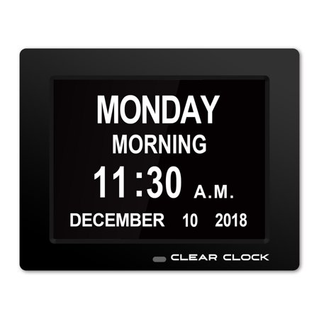 Clear Clock Digital Memory Loss Calendar Day Clock With Optional Day Cycle Mode Perfect For Seniors (Black) (Centurion Clock)