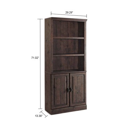 "Better Homes & Gardens 71"" Crossmill 3 Shelf Bookcase with Doors, Weathered Finish"