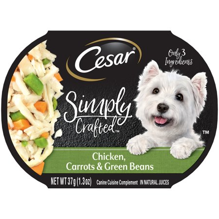 (10 Pack) CESAR SIMPLY CRAFTED Adult Wet Dog Food Cuisine Complement, Chicken, Carrots & Green Beans, 1.3 oz. Tub