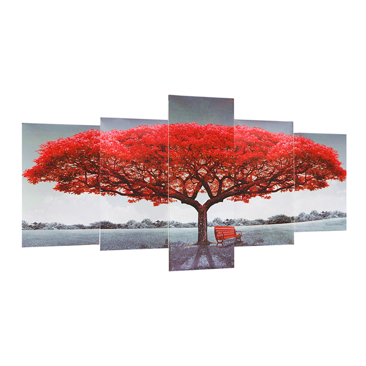 Modern Scenery Red Tree Canvas Oil Painting Frameless Home Bedroom Wall Decor