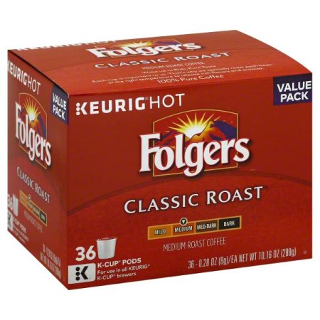 (2 Pack) Folgers Classic Roast Coffee K-Cup Pods, Medium Roast, 36 Count
