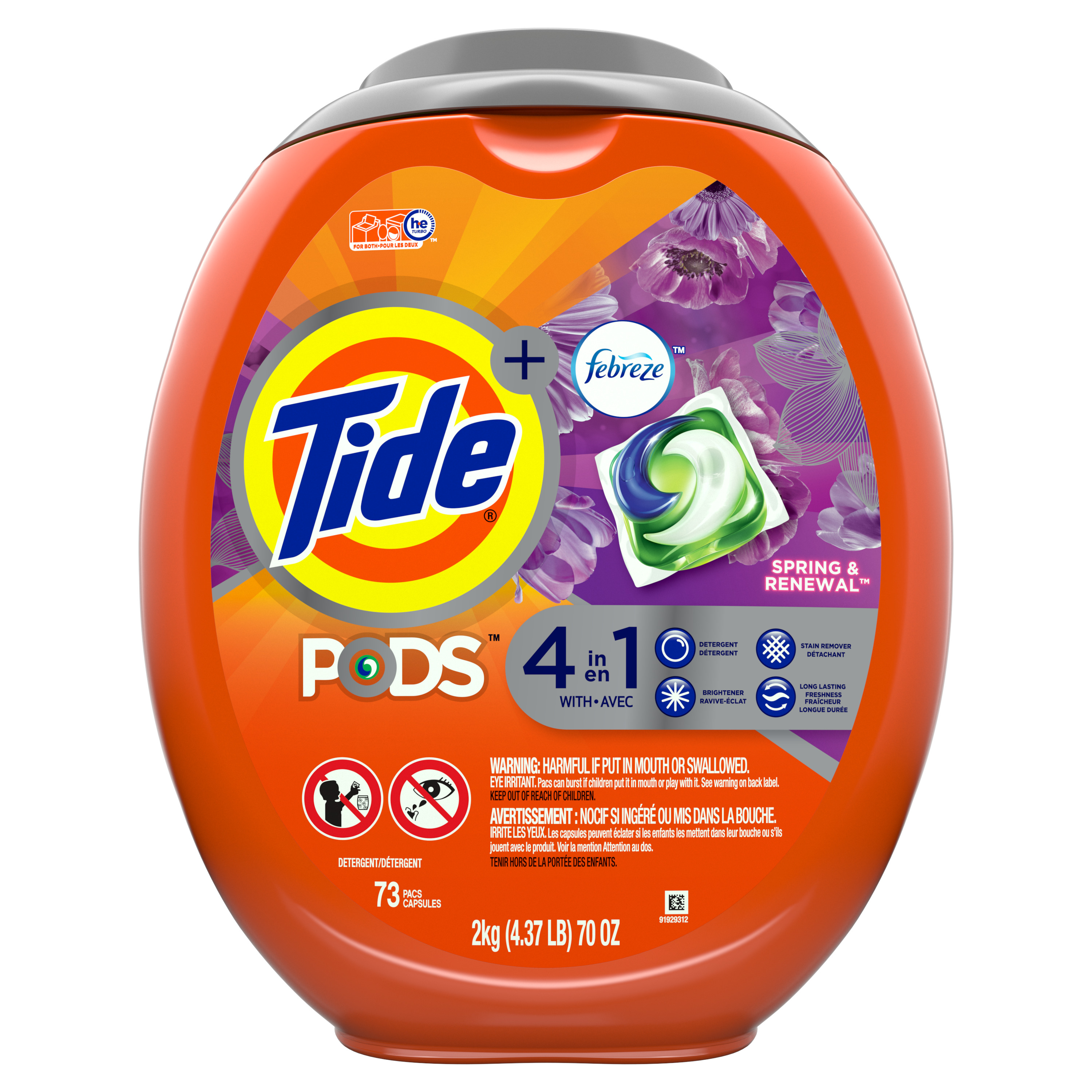 Tide Pods Laundry Detergent Pacs Spring Renewal - 73ct