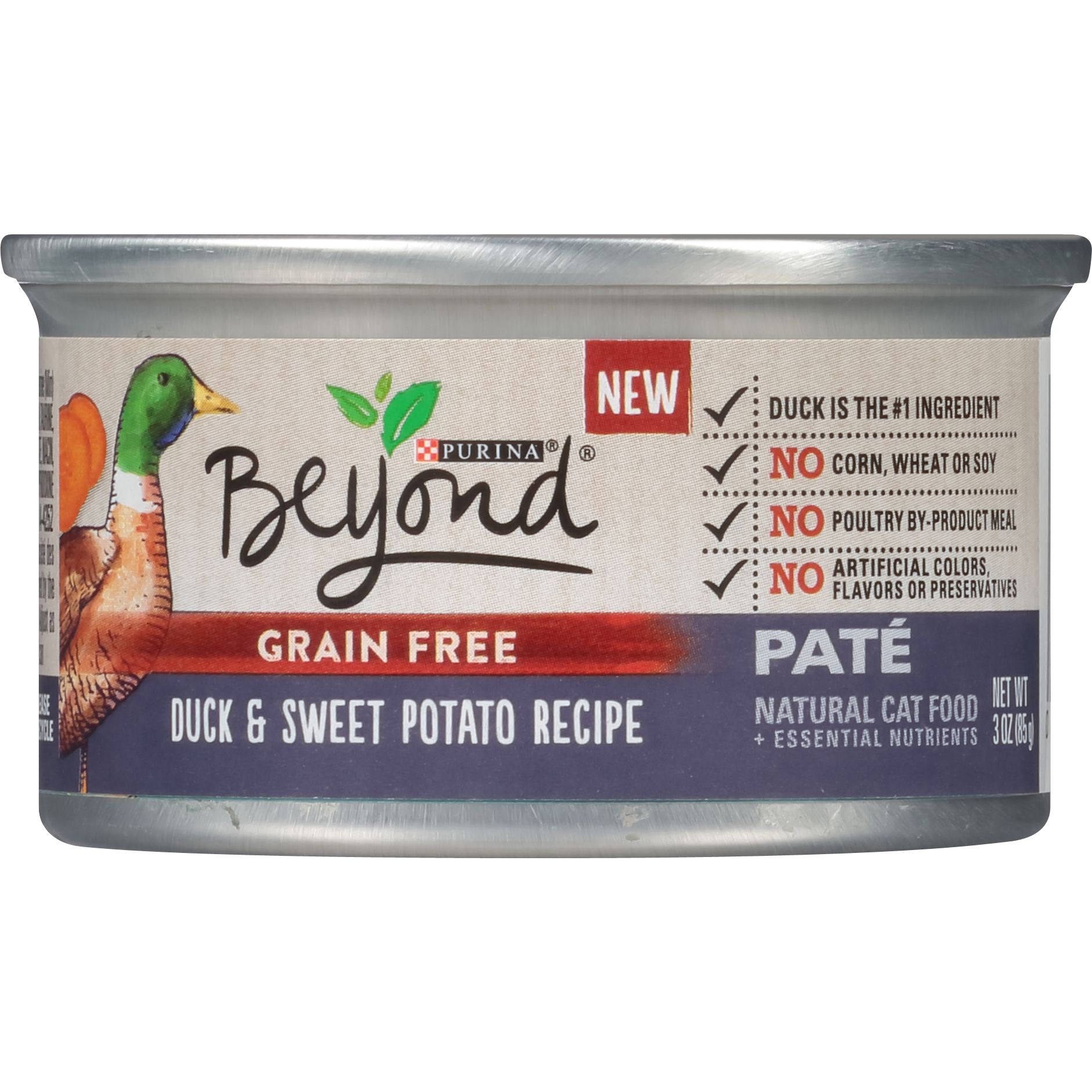 Purina Beyond Grain Free Duck & Sweet Potato Recipe Pate Wet Cat Food, 3 Oz. Cans (12 Pack)