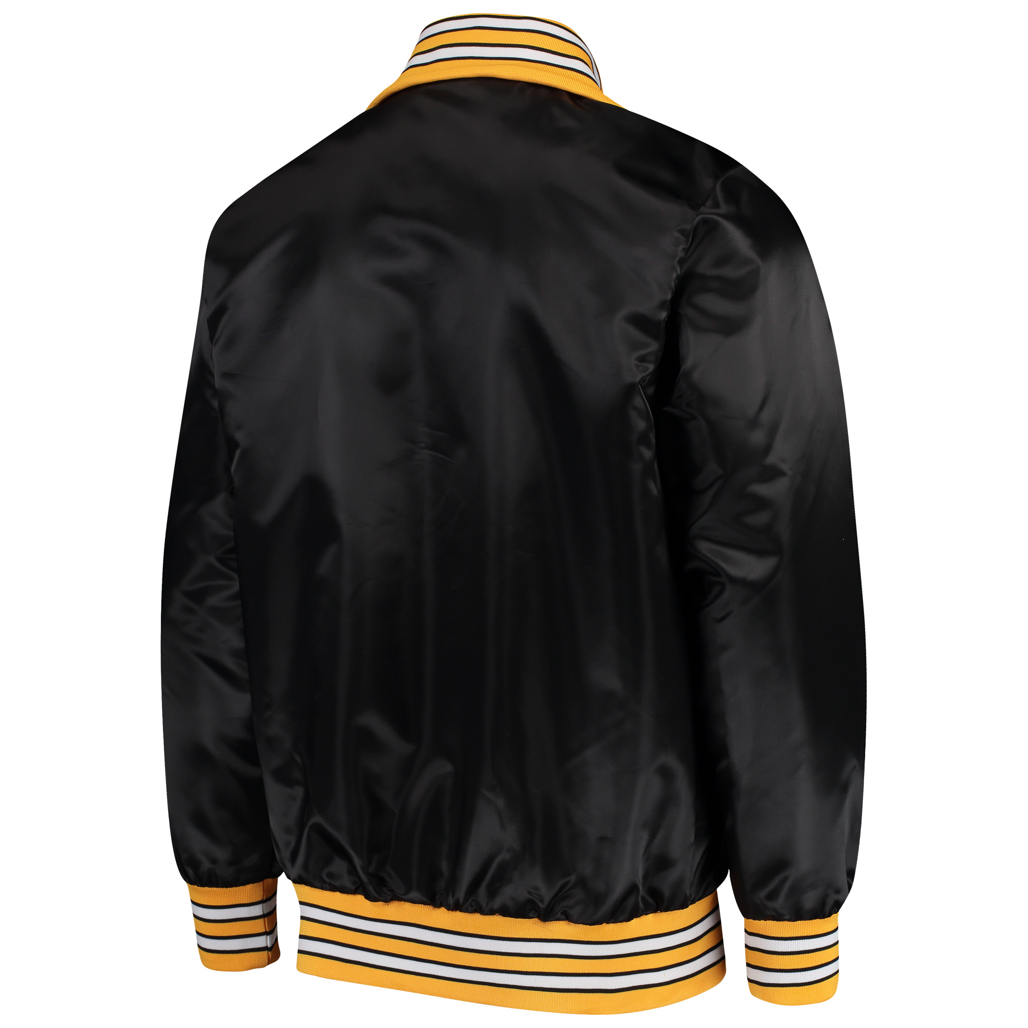 detailed look c88ce c8cbf Pittsburgh Steelers Starter Captain Satin Varsity Jacket - Black