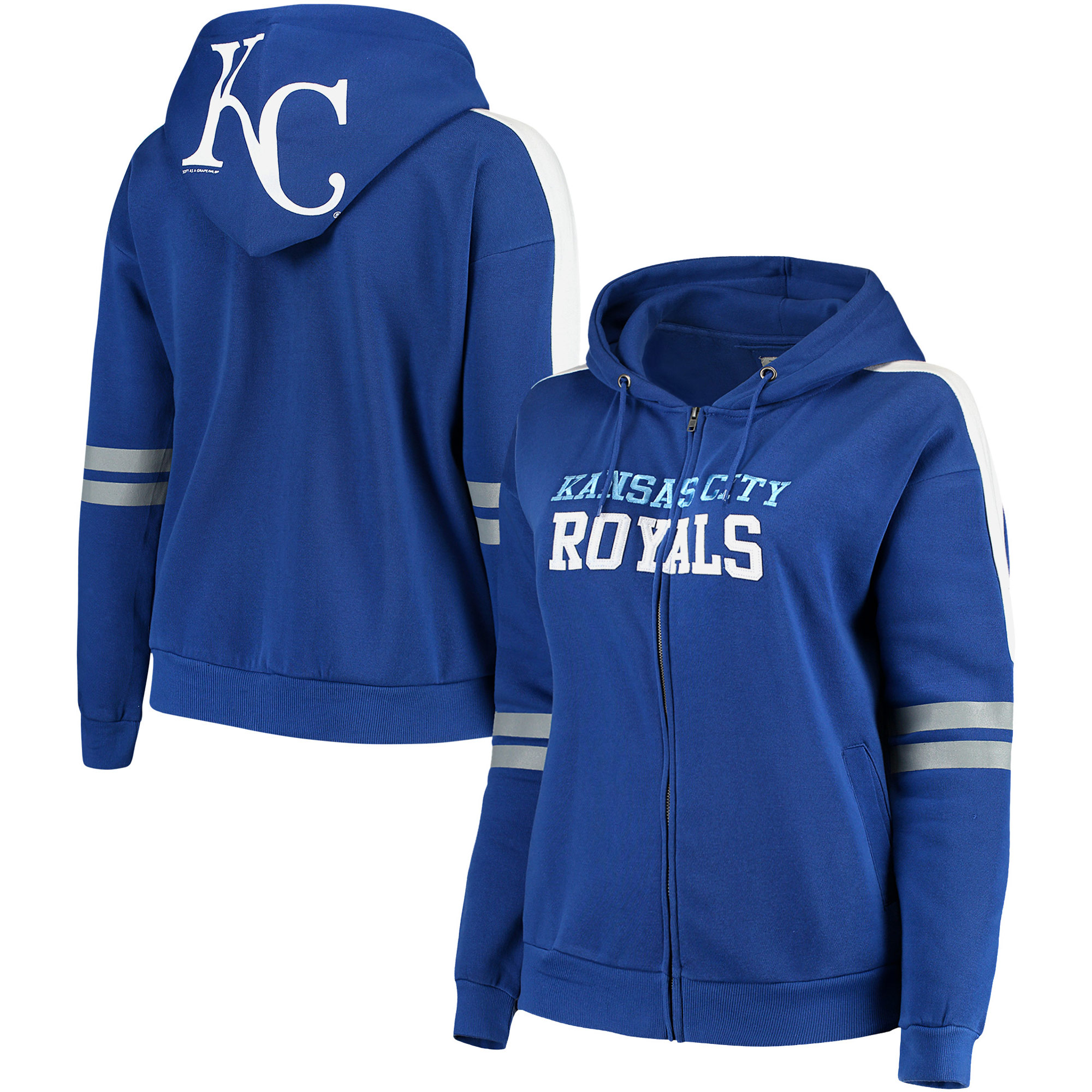 Kansas City Royals Soft As A Grape Women's Curvy Bio-Washed Full-Zip Plus Size Hoodie - Royal