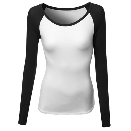 FashionOutfit Women's Color Contrast Scoop neck long Sleeve Baseball Tee