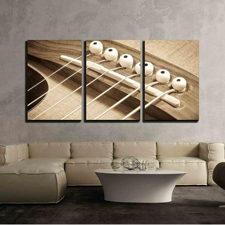 wall26 - 3 Piece Canvas Wall Art - an Acoustic Guitar Bridge in ...