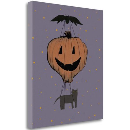 Halloween Pumpkin Balloon by Sarah Ogren, Gallery Wrap Canvas Art printed on heavy museum grade canvas 21-Inch by 24-Inch SBSO1071-2124c