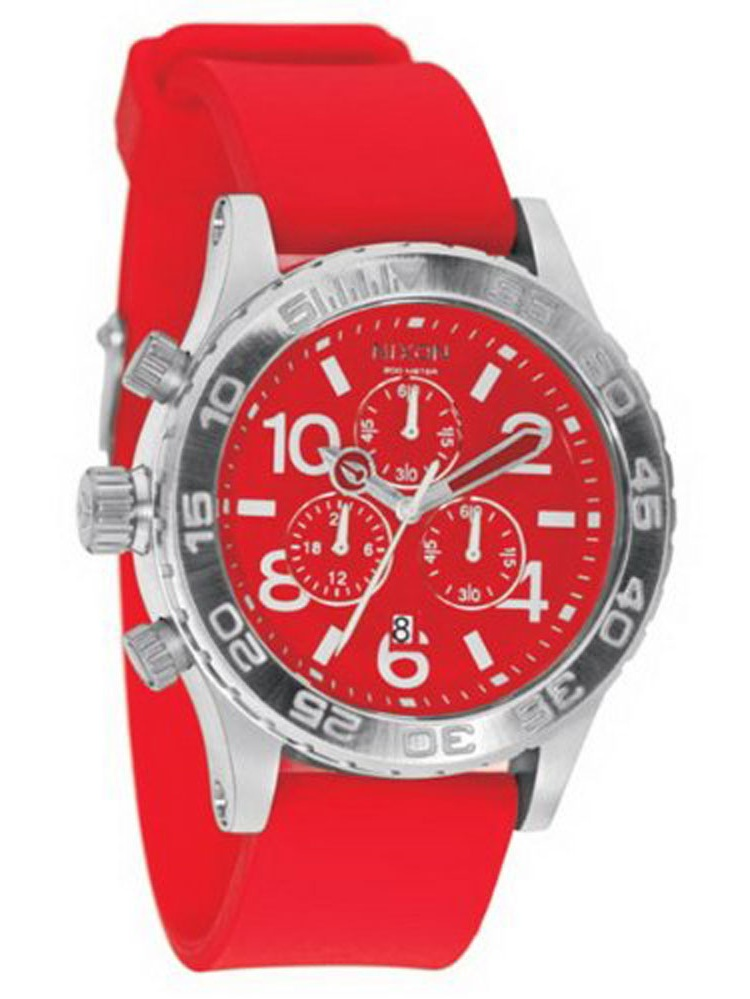 A038200 Men's Lefty Red Dial Rubber Strap Chronograph Dive Watch