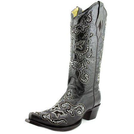 Ladies Western Black Leather Boots - Corral A1192 Women  Pointed Toe Leather Black Western Boot