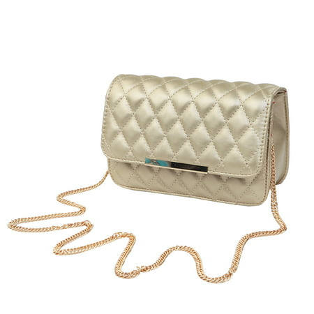 Classic Smooth Quilted Flap Clutch Handbag Crossbody Shoulder