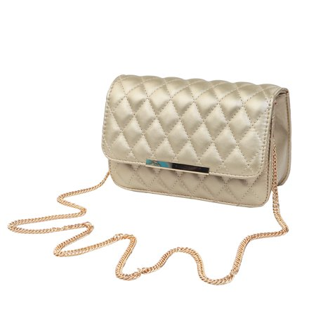 Classic Smooth Quilted Flap Clutch Handbag Crossbody Shoulder Bag