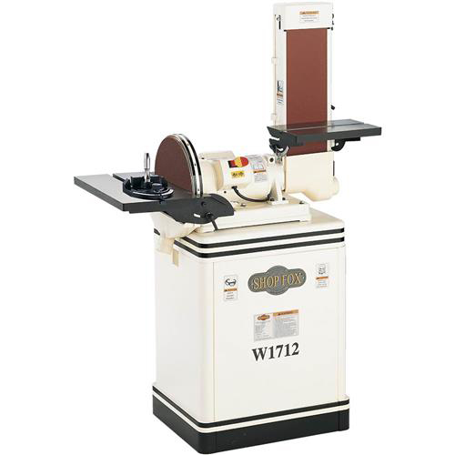 "Shop Fox W1712 1-1/2 H.P. Heavy-Duty Combination Sander with  6"" Belt & 12"" Disk"