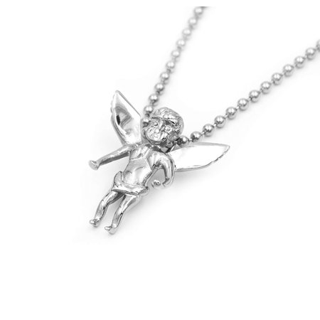 Beaded Wing (Stainless Steel Silver 3D Baby Angel Cherub Wing Pendant with Ball Beads Link Chain 30