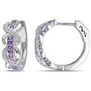 5/8 Carat T.G.W. Amethyst and Created White Sapphire Sterling Silver Infinity Hoop Earrings