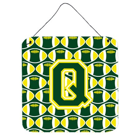 Letter Q Football Green and Yellow Wall or Door Hanging Prints - Yellow Letter
