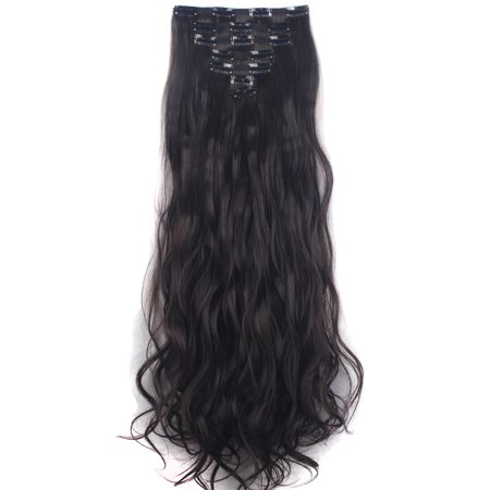 "FLORATA 24"" Long Curly Wavy Full Head Clip in Synthetic Hair Extensions Double Weft 7 Pieces 16 Clips 160g"