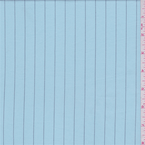 Turquoise Stripe Stretch Fine Line Twill, Fabric By the Yard