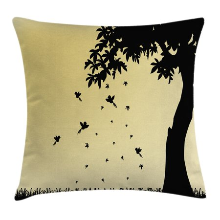 Apartment Decor Throw Pillow Cushion Cover, Autumn Theme Silhouette of a Tree with Falling Leaves and Birds Pattern, Decorative Square Accent Pillow Case, 16 X 16 Inches, Mustard Black, by - Silhouette Birds