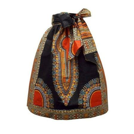 - African Print Women Natural Waist Bohemian Skirt with Belt