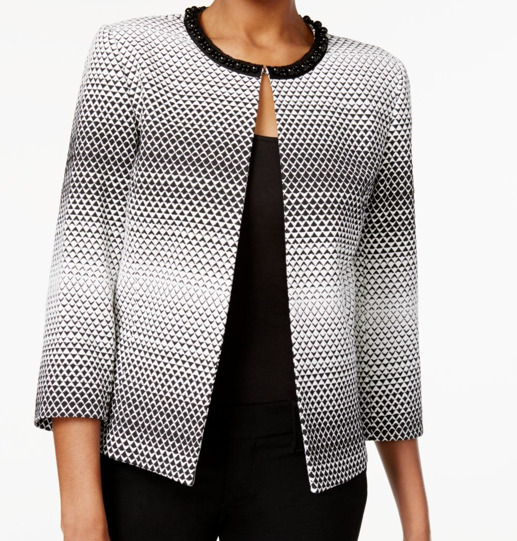 Tahari By ASL White Women's Geometric Beaded Jacket