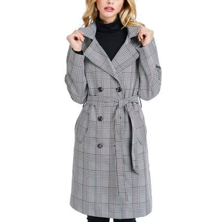 KOGMO Womens Plaid Checker Double Breast Trench Coat with Double Buttons