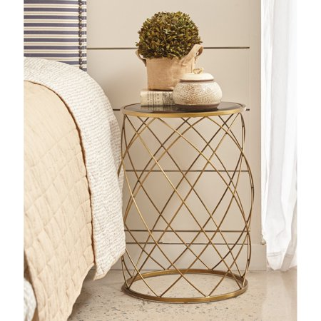 Right2Home Convex Round Brass Metal Accent Table with Smoked Glass Top