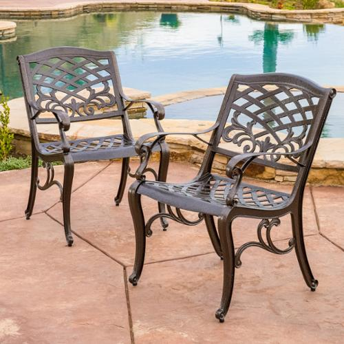 Christopher Knight Home Sarasota Cast Aluminum Outdoor Chair by  (Set of 2)