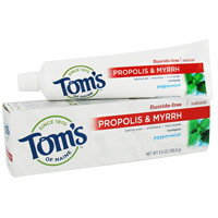 Toms Of Maine Propolis And Myrrh Fluoride Free Natural Toothpaste, Peppermint - 5.5 Oz, 3 Pack