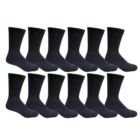 SOCKS'NBULK 12 Pairs of Youth Girl Socks, Girls Crew Socks, Girls Athletic Socks (9-11, Black)