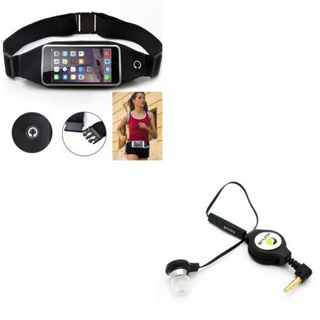 Black Sports Running Workout Waist Bag Belt Case w Retractable Headset MONO Hands-free Earphone w Mic E9P for Alcatel 1x Evolve - iPhone 6S Plus 6 Plus - ASUS Zenfone V Live, PadFone