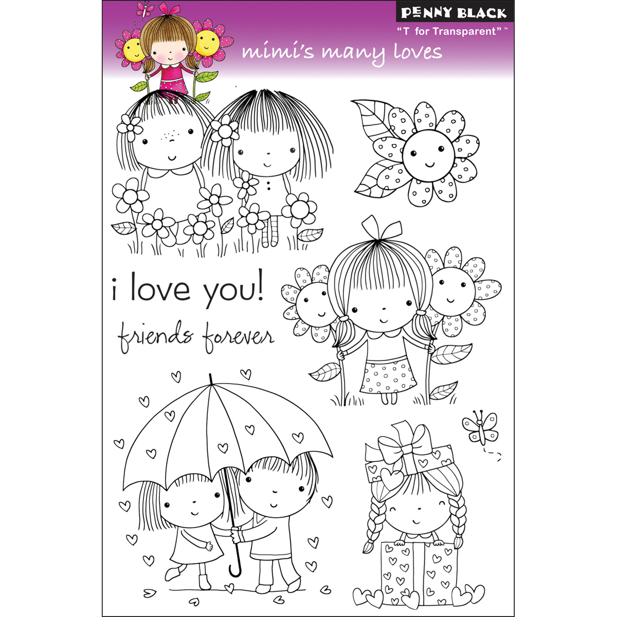 """Penny Black Clear Stamps 5"""" x 7.5"""" Sheet, Mimi's Many Loves"""