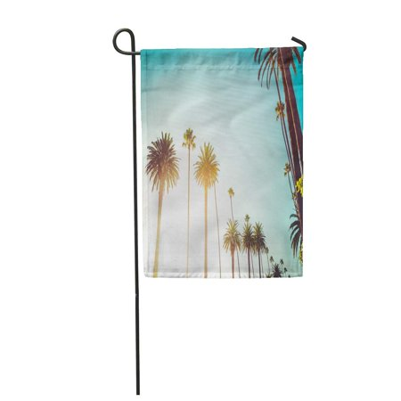 LADDKE Rodeo Drive in Beverly Hills Palm Trees Bordering Hollywood Garden Flag Decorative Flag House Banner 12x18 inch - Hollywood Banner