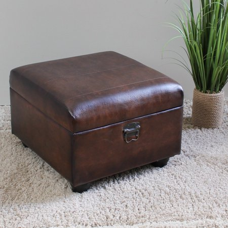 Ottoman Trunk - Istanbul Faux Leather Square Ottoman Trunk with Lid