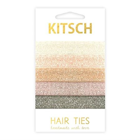 kitsch 5 piece knotted hair ties and creaseless ponytail band set, soft elastic hair ribbon, prima ballerina Print Knot Hair Ties