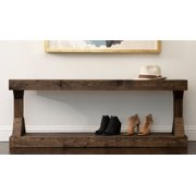 Rustic Contemporary Farmhouse Solid Wood Pedestal Bench by Del Hutson Designs