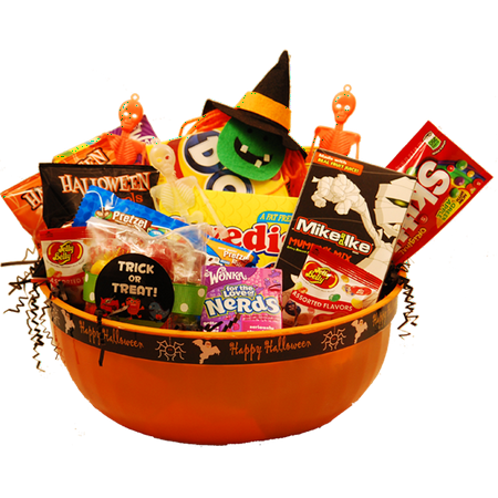Spooktacular Sweets Halloween Gift Basket](Homemade Halloween Gift Basket Ideas)