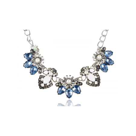 Silvery Metal Alloy Blue White Green Beaded Rhinestone Embellished - Light Blue Beaded Necklace