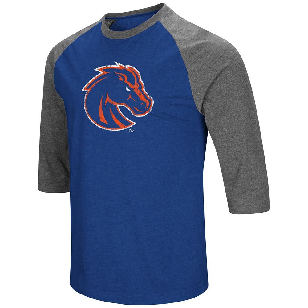 Mens Boise State Broncos 3/4 Sleeve Raglan Tee Shirt - S