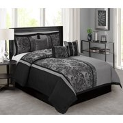 Unique Home 7 Piece Peony Jacquard Fabric Clearence Patchwork Comforter Set Queen King Size (King, Gray)