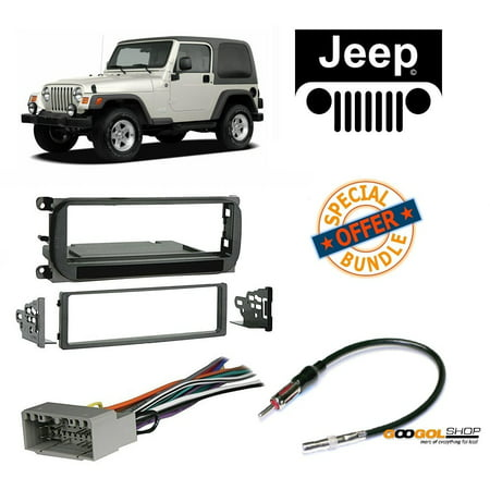 Radio Stereo Install Dash Kit + wire harness And antenna adapter for Jeep Grand Cherokee (02-04), Liberty (02-07), Wrangler (03-06) (Jeep Cherokee Stereo System)